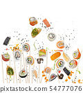 sushi rolls with wooden chopsticks on white 54777076