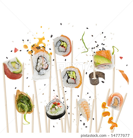 sushi rolls with wooden chopsticks on white 54777077