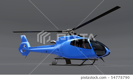 Blue helicopter isolated on the gray background. 3d illustration. 54778790