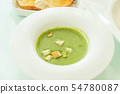 spinach soup with garlic bread 54780087