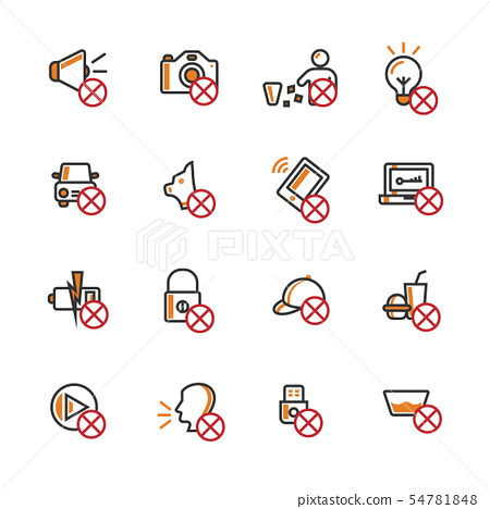 Prohibition filled outline icon set. 54781848