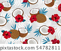 Coconut fruits seamless pattern whole and piece 54782811