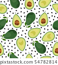 Avocado seamless pattern whole and sliced on white 54782814