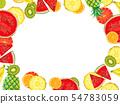 Hand drawn Exotic Fruit frame isolated on white background 54783059