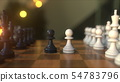 Chess game. The first two pawn moves. Chessboard close-up, realistic 3D rendering 54783796