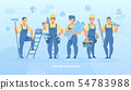 Group of Construction Engineers in Robe with Tools 54783988