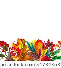 Autumn leaves border. Watercolor hand drawn frame 54784368
