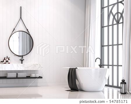 Modern white vintage bathroom 3d render 54785171