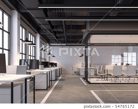 Modern loft style office 3d render 54785172