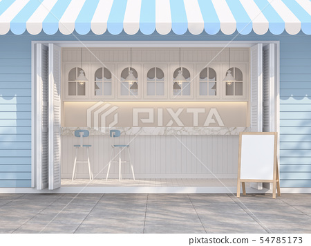 Front of blue and white coffee shop 3d render 54785173