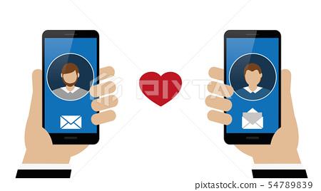 online dating between two homosexual men via smartphone 54789839