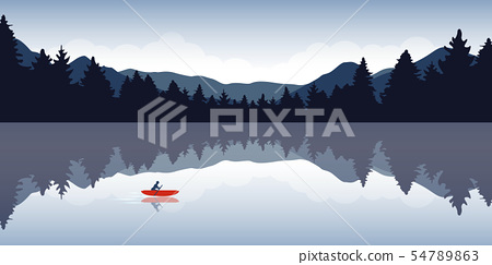 lonely canoeing adventure with red boat forest landscape 54789863