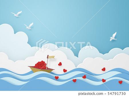 종이 공예 - 하늘 - 구름 - 배 - 바다 - 조류 - 하트 54791730
