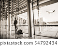 airport, woman, airplane 54792434