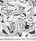 Ink hand drawn feathers seamless pattern textile fashion background 54792509