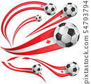 Canada flag set with soccer ball. vector 54793794