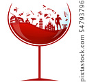 glass of italian red wine with symbol element  54793796