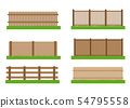 Collection of wooden fence vector set elements  54795558