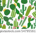 Seamless pattern of many cactus 54795561