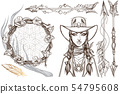Girl in a cowboy hat illustration for coloring. Portrait of a beautiful woman. Country style for t 54795608