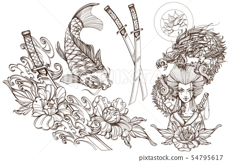Contour image of asian woman in a kimono and dragon. Beautiful template for posters or leaflets with 54795617