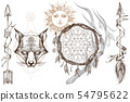Muzzle fox illustration for creating sketches of tattoos, printing on clothes, design of posters and 54795622