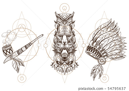 Totem eagle, wolf, fox and owl illustration for creating sketches of tattoos, printing on clothes 54795637