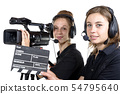 two young women with  video cameras 54795640