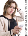 young woman with a problem on the phone 54795720