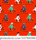 Cartoon dinosaur on bikes seamless pattern. Dino child characters riding bicycles vector on white 54796086