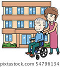 요양 시설과 휠체어의 남성과 도우미 여성 54796134