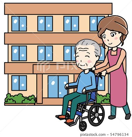 護老者和輪椅男子和幫手婦女 54796134