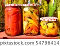 vegetables in glass jars 54796414