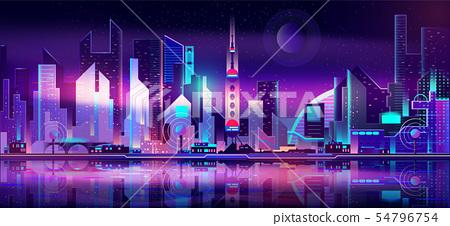 Future metropolis skyline vector urban background 54796754