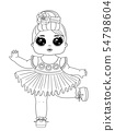 Line art baby dolls character. Cute outline baby doll isolated on white background. Perfect for 54798604