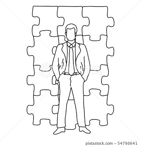 businessman standing in front of jigsaw puzzle 54798641