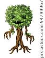 Monster plant illustration. Vector label isolated on white background 54799967