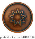 Bahai symbol on the copper metal coin 54801734