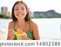 Hawaii woman on Waikiki eating Hawaiian shave ice 54802386