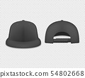 Vector 3d Realistic Render Black Blank Baseball Snapback Cap Icon Set Closeup Isolated on 54802668