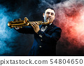 Handsome adult man playing saxophone 54804650