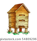 Color Wooden Beehive Apiary On Grass Apiculture Vector 54809296