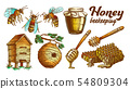Color Honey Beekeeping Apiary Set Vector 54809304