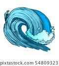 Color Breaking Tropical Sea Marine Wave Storm Vector 54809323