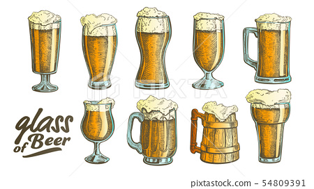 Hand Drawn Glass Color Foam Bubble Beer Set Vector 54809391