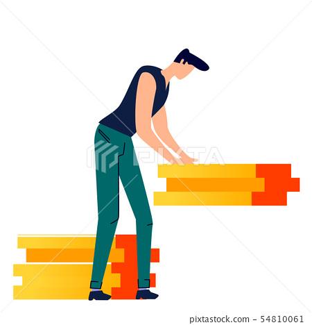 Male character moves cargo cartoon vector 54810061