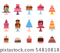 Wedding or Birthday pie cakes flat sweets dessert bakery ceremony delicious vector illustration. 54810818