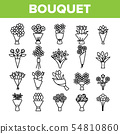 Bouquets, Bunches Of Flowers Vector Icons Set 54810860