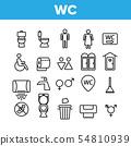 WC, Public Bathroom, Toilet Vector Linear Icons Set 54810939