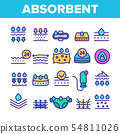 Absorbent, Absorbing Materials Vector Color Line Icons Set 54811026
